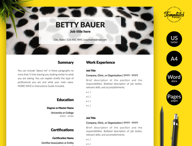 "Animal Care Resume for Word & Pages ""Betty Bauer"" cv for pet sitters workers animal caretakers resume resume for pet sitters workers resume for animal care workers cv for veterinarians veterinary cv animal care resume animal caretakers cv pet sitters resume cv for animal care pet care resume animal care cv veterinary resume veterinarian resume resume template resume for pages resume for word three page resume one page resume cv template"