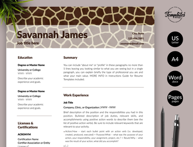 "Animal Care Resume for Word & Pages ""Savannah James"" cv for animal caretakers resume for animal care jobs resume for zoologist cv for zoologist animal care cv zoologist cv pet care resume zoologist resume animal care resume veterinary resume curriculum vitae safari assistant zoo director resume veterinarian resume resume template creative resume modern resume resume for word one page resume cv template"