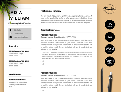"Teacher Resume for Word & Pages ""Lydia William"" teacher resume design teacher resume word cv word teacher resume word teacher resume teacher example cv format teacher cv for teacher modern cv teacher elementary school minimalist resume basic resume simple resume 2 page resume 1 page resume resume for teacher teaching resume resume with cover resume for word teacher resume resume template"