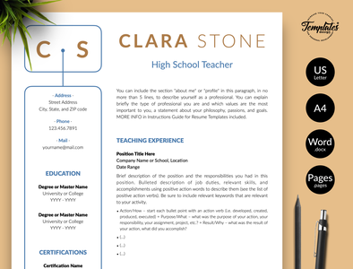 "Teacher Resume for Word & Pages ""Clara Stone"" cv for teacher cv for teaching word teaching cv word teaching resume word teacher cv word teacher resume teaching cv preschool teacher resume for job creative resume resume for teacher teacher cv template teaching resume resume with cover two page resume one page resume resume for word teacher resume resume template professional resume"