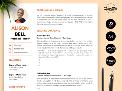 """Teacher Resume for Word and Pages """"Alison Bell"""" teacher resume design resume template best cv for teacher best resume for teacher perfect teacher cv perfect teacher resume teacher cv sample teacher cv format teacher cv example teacher resume sample teacher resume format teacher resume example teacher resume word teacher cv word cv for teacher resume for teacher word teacher cv word teacher resume teacher cv teacher resume"""