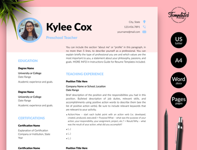"Teacher Resume for Word & Pages ""Kylie Cox"" word cv for teacher preschool resume word preschool teacher resume word teaching cv word teacher cv word teaching resume word teacher resume resume with photo cv with cover preschool teacher resume for teacher teacher cv template teaching resume two page resume one page resume resume for word teacher resume modern resume professional cv resume template"
