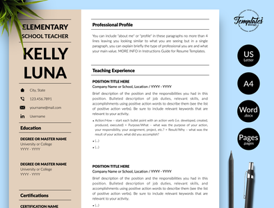 "Teacher Resume for Word & Pages ""Kelly Luna"" word teacher resume word teacher cv teaching resume teacher resume teacher cv template school teacher resume school teacher cv resume with cover resume template resume for word resume for teacher resume for job professional resume preschool teacher preschool cv word modern resume cv for teaching jobs cv for teachers 2 page resume 1 page resume"