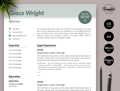 "Legal Resume for Word & Pages ""Grace Wright"" one page resume cv template modern resume resume template word lawyer cv template resume for lawyer attorney cv template legal cv template resume for attorney attorney resume lawyer resume legal resume 2 page resume 1 page resume resume for word resume template professional resume"