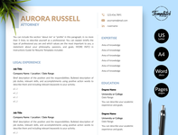 "Legal Resume for Word & Pages ""Aurora Russell"" resume template resume for word resume for lawyer resume for attorney professional resume modern resume legal resume legal cv template legal cv resume lawyer resume cv template curriculum vitae creative resume attorney resume attorney cv template 2 page resume 1 page resume"