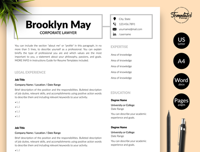 "Legal Resume for Word & Pages ""Brooklyn May"" resume with photo resume with cover resume template word resume template resume for word resume for lawyers resume for lawyer professional resume modern resume legal cv template lawyer resume lawyer cv template cv template curriculum vitae corporate lawyer attorney resume attorney cv template"