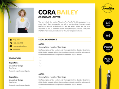 """Legal Resume for Word & Pages """"Cora Bailey"""" resume with photo resume with cover resume template resume for word resume for lawyer resume for attorney professional resume modern resume legal resume legal cv template lawyer resume lawyer cv template cv template creative resume corporate lawyer attorney resume attorney cv template"""