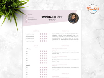 "Resume Template For Word And Pages ""Sophia Palmer"""
