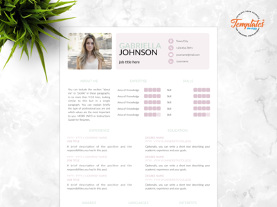 "Resume Template For Word And Pages ""Gabriella Johnson"""