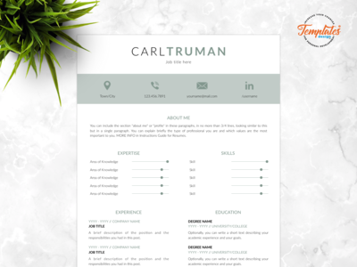 "Resume Template For Word And Pages ""Carl Truman"""