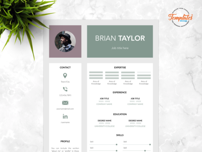 "Resume Template For Word And Pages ""Brian Taylor"""