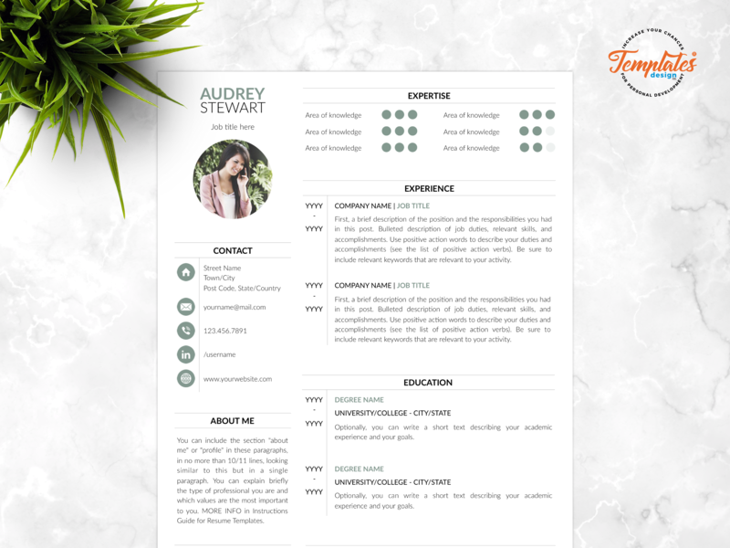 """Resume Template For Word And Pages """"Audrey Stewart"""" perfect cv modern resume 2019 resume with photo feminine resume cv modern resume resume with cover resume template 2019 editable resume cv for word clean resume resume template etsy any job position best resume template"""