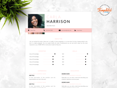 "Resume Template For Word And Pages ""Carla Harrison"""
