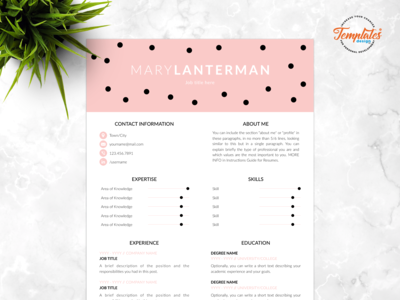 "Resume Template For Word And Pages ""Mary Lanterman"""