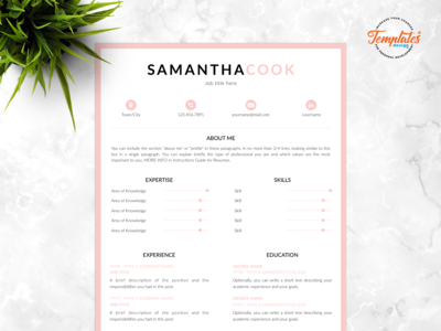 "Resume Template For Word And Pages ""Samantha Cook"""