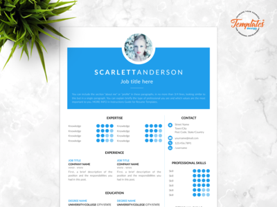 "Resume Template For Word And Pages ""Scarlett Anderson"""