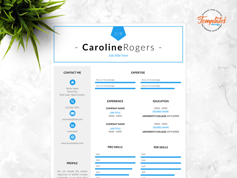 """Resume Template For Word And Pages """"Caroline Rogers"""" letter template cv creative resume cv design 3 page cv 2 page cv 1 page cv creative resume word professional resume cv template pc cv template mac printable cv resume modern resume template word"""