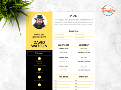 "Resume Template For Word And Pages ""David Watson"""