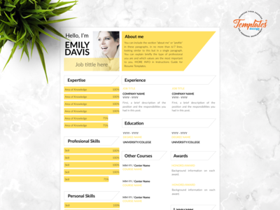 "Resume Template For Word And Pages ""Emily Davis"""