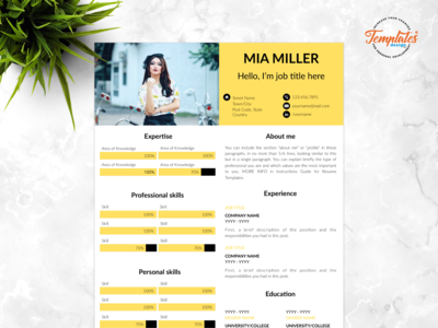 "Resume Template For Word And Pages ""Mia Miller"""