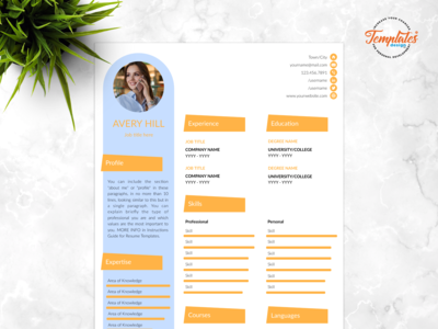 "Resume Template For Word And Pages ""Avery Hill"""