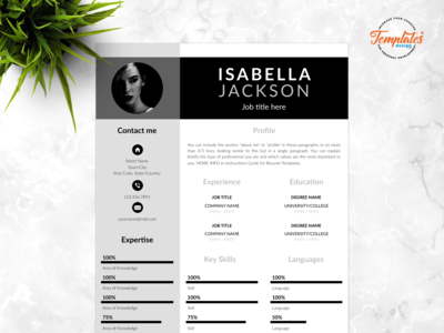 "Resume Template For Word And Pages ""Isabella Jackson"""