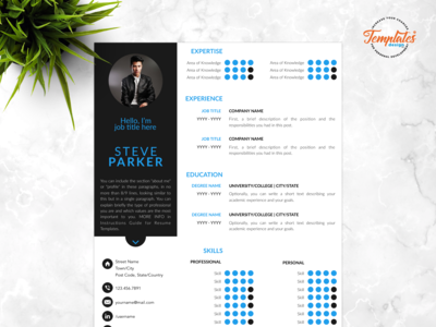 "Resume Template For Word And Pages ""Steve Parker"""
