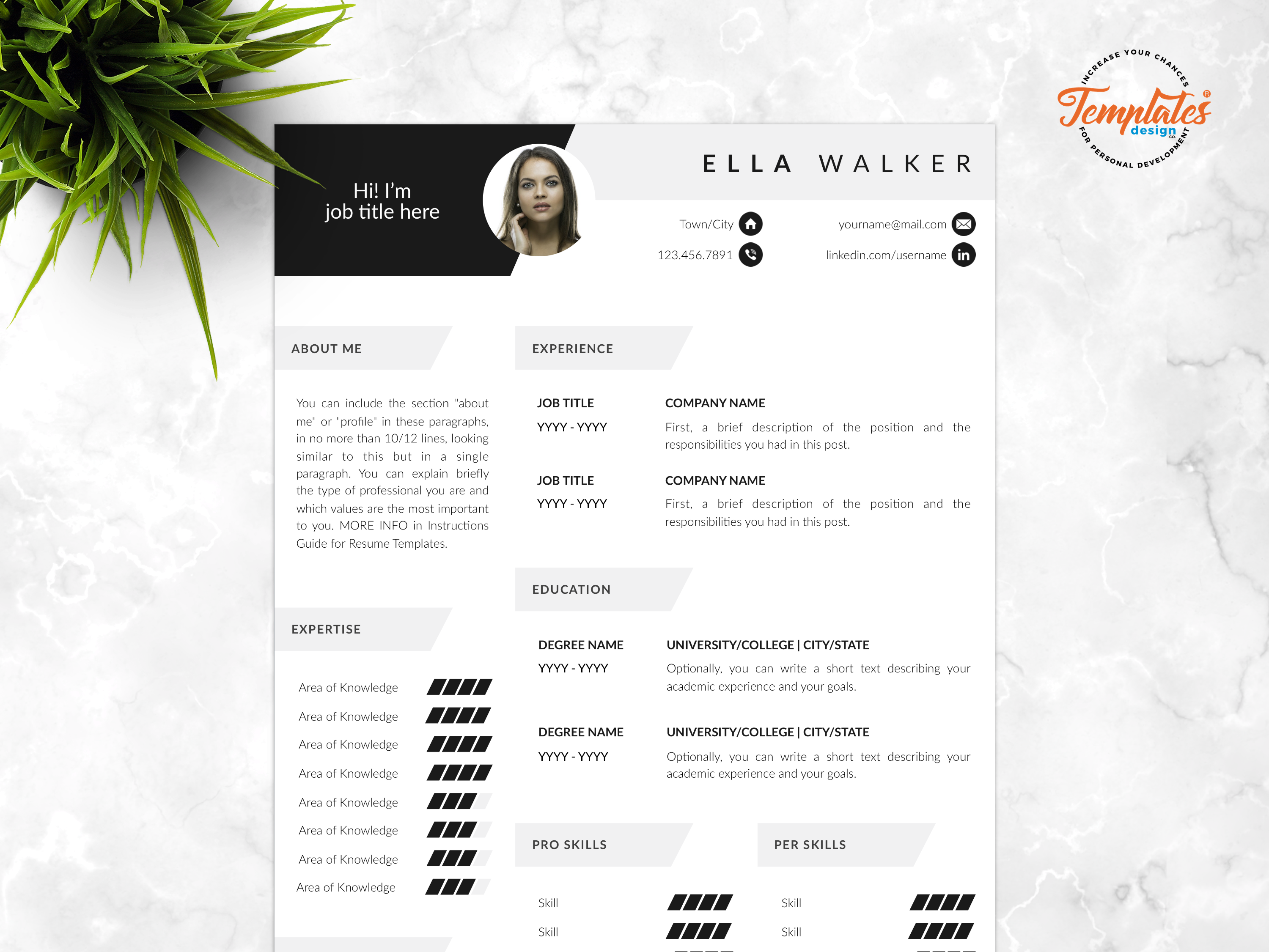 Resume template for word and pages   ella walker   00 presentation