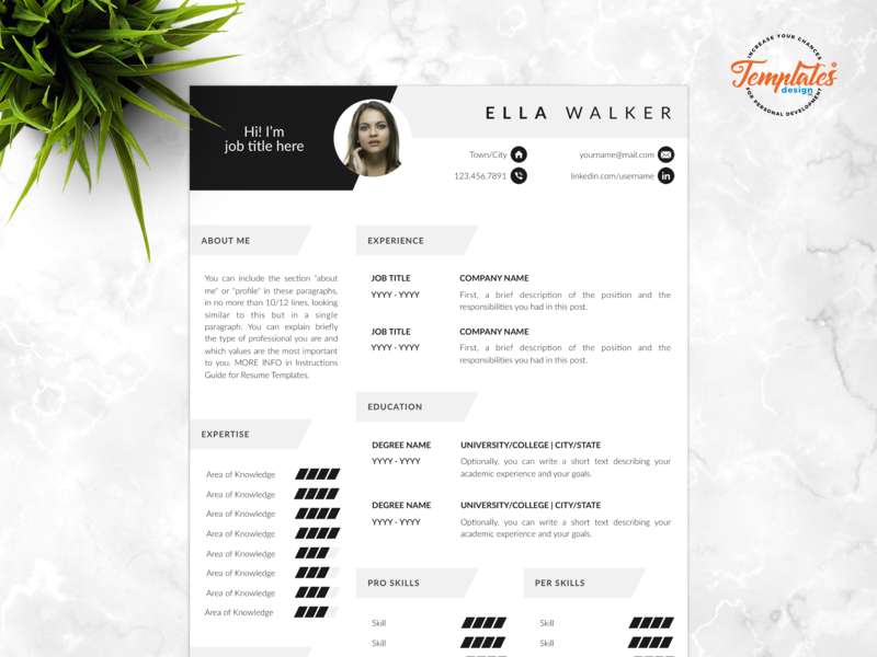 "Resume Template For Word And Pages ""Ella Walker"" best resume word three page resume two page resume one page resume resume template 2019 resume etsy 2019 best resume etsy cv design for word cv design for pages modern resume design cv with photo creative cv photo best resume template"