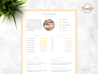 "Resume Template For Word And Pages ""Ava Brown"""