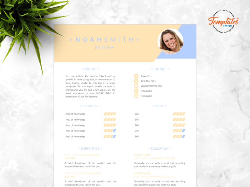 "Resume Template For Word And Pages ""Noah Smith"" basic resume clean resume resume template creative resume modern resume professional resume three page resume two page resume one page resume resume for pages resume for word resume cv cv template"