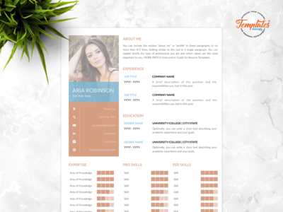 "Resume Template For Word And Pages ""Aria Robinson"""