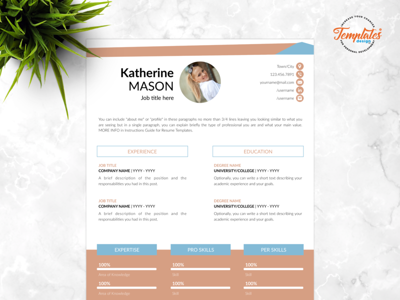 "Resume Template For Word And Pages ""Katherine Mason"" references letter cover letter creative cv word architect resume civil engineer cv engineering cv resume template creative resume professional resume three page resume two page resume one page resume cv template"