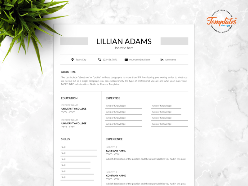 "Resume Template For Word And Pages ""Lillian Adams"" standard resume resume word cv design 3 page cv 2 page cv 1 page cv resume cover letter resume template word classic resume clean resume basic resume simple resume cv template"