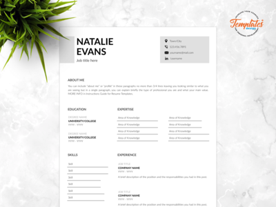 "Resume Template For Word And Pages ""Natalie Evans"""