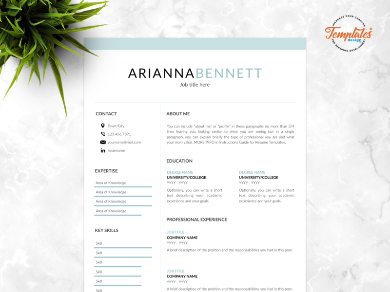 """Resume Template For Word And Pages """"Arianna Bennett"""" cv modern resume resume with cover resume template 2019 perfect resume editable resume cv for pages cv for word clean resume basic resume resume template etsy simple resume any job position best resume template"""