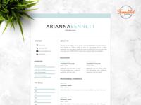 """Resume Template For Word And Pages """"Arianna Bennett"""""""