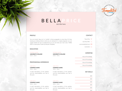 """Resume Template For Word And Pages """"Bella Price"""""""