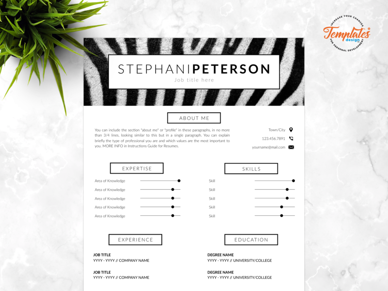 "Resume Template For Word And Pages ""Stephani Peterson"" veterinary resume curriculum vitae safari assistant zoo director resume animal curator veterinarian resume resume template creative resume animal print resume one page resume resume for pages resume for word cv template"