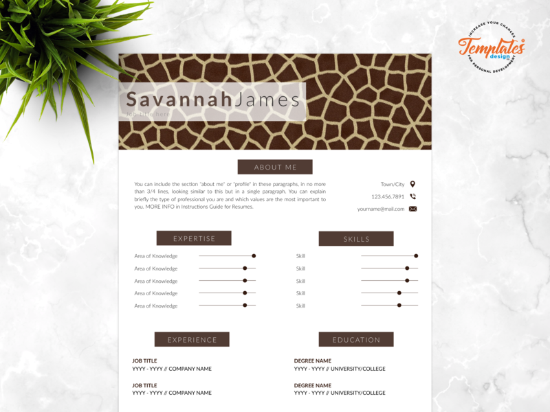"Resume Template For Word And Pages ""Savannah James"" veterinary resume curriculum vitae safari assistant zoo director resume veterinarian resume resume template creative resume modern resume animal print resume one page resume resume for pages resume for word cv template"