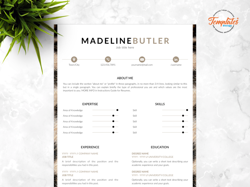 """Resume Template For Word And Pages """"Madeline Butler"""" veterinary resume curriculum vitae resume and cover safari assistant animal curator veterinarian resume resume template creative resume animal print resume one page resume resume for pages resume for word cv template"""