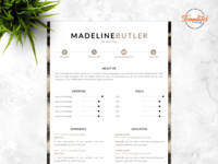 """Resume Template For Word And Pages """"Madeline Butler"""""""