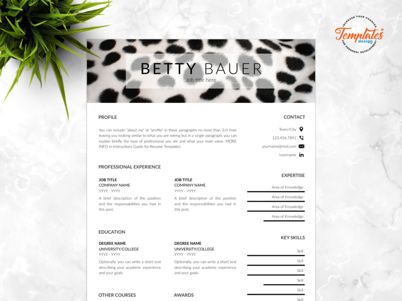 "Resume Template For Word And Pages ""Betty Bauer"" veterinary resume curriculum vitae safari assistant zoo director resume veterinarian resume animal resume resume template creative resume three page resume one page resume resume for pages resume for word cv template"