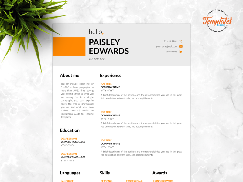 """Resume Template For Word And Pages """"Paisley Edwards"""" elegant resume elementary resume cover and resume instant download 3 page resume design 2 page resume design 1 page resume design basic cv clean cv resume template modern resume professional resume cv template"""