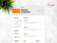 """Resume Template For Word And Pages """"Paisley Edwards"""""""