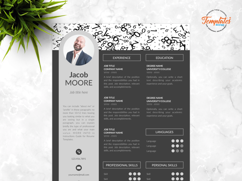 """Resume Template For Word And Pages """"Jacob Moore"""" professional cv word creative cv word finance cv banking resume investment banking engineering resume mathematics resume resume template word accounting cv modern cv 3 page cv 2 page cv 1 page cv"""
