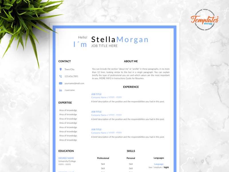"Resume Template For Word And Pages ""Stella Morgan"" printable resume functional resume curriculum vitae best modern resume three page resume two page resume one page resume cv design resume template simple resume word cv with cover cv template word cv template pages"