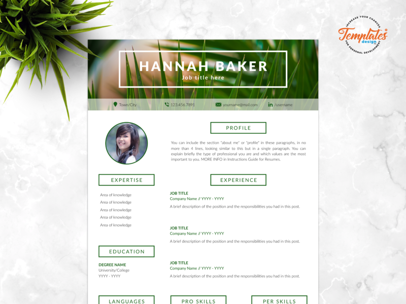 "Resume Template For Word And Pages ""Hannah Baker"" resume and cover resume word research assistant biologist resume instant download resume design resume template creative resume modern resume three page resume two page resume one page resume cv template"