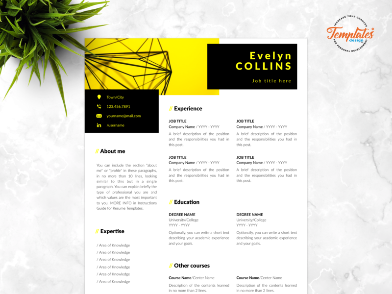 "Resume Template For Word And Pages ""Evelyn Collins"" professional resume curriculum vitae civil engineer cv data analyst resume engineering resume engineer resume three page resume two page resume one page resume modern resume creative resume resume for word cv template"