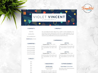 """Resume Template For Word And Pages """"Violet Vincent"""" modern resume resume template editable resume geometric resume basic cv simple cv resume design 3 page resume 2 page resume 1 page resume resume word professional resume cv template"""